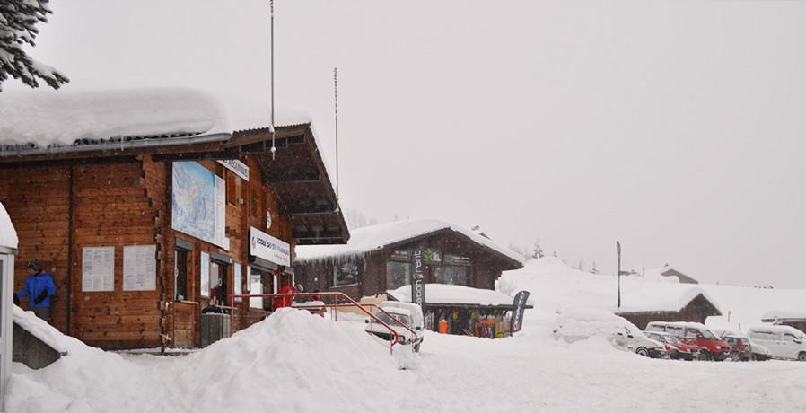 testing down the ski slopes